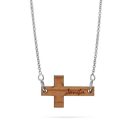 Wood Engraved Sideways Cross Name Necklace