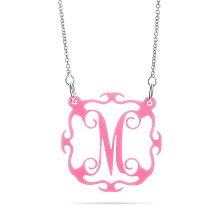 Scalloped Style Single Initial Acrylic Necklace