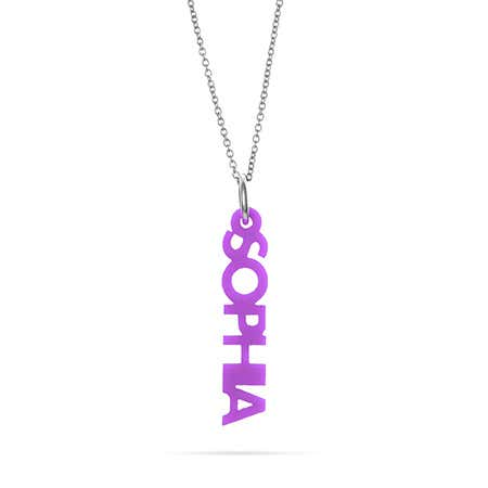 Custom Vertical Acrylic Nameplate Necklace