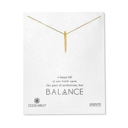 Dogeared Gold Dipped Balance Spiky Spear Necklace