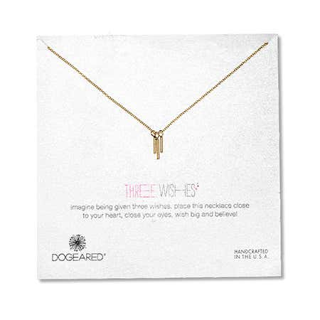 Dogeared Gold Dipped Three Wishes Triple Tube Necklace