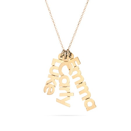 14K Gold Dangling Family Nameplate Necklace