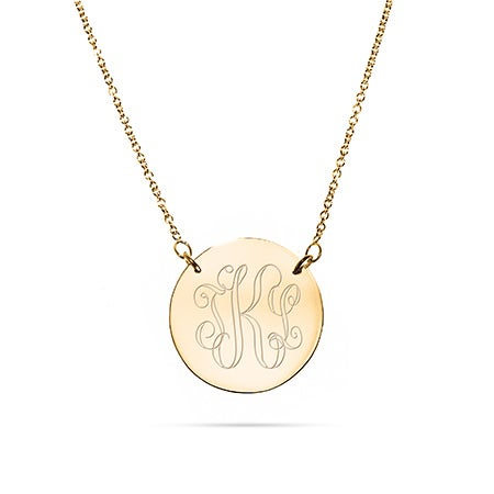 Engravable Gold Vermeil Monogram Disc Necklace