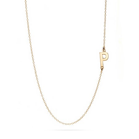 14K Gold Sideways Initial Necklace