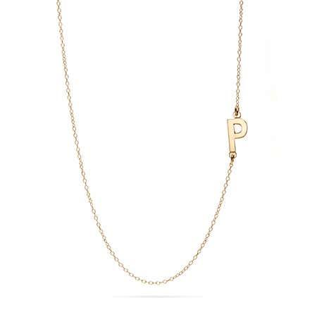 Custom 14K Gold Sideways Initial Necklace