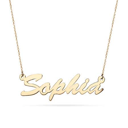 14K Gold Thin Script Name Plate Necklace