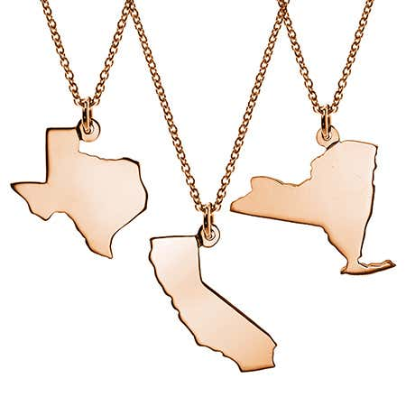 display slide 1 of 11 - Rose Gold Vermeil State Pendant - selected slide