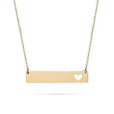 14K Gold Cut Out Heart Bar Necklace