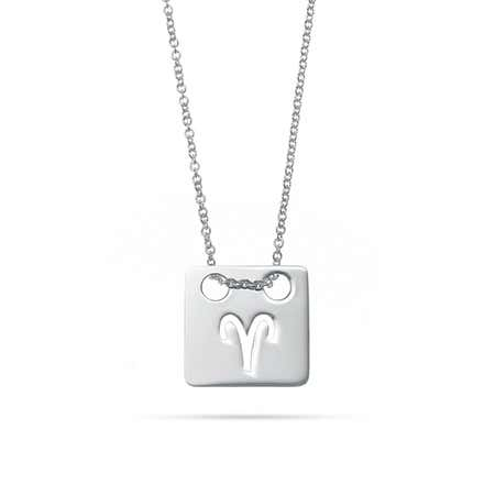Zodiac Cut Out Silver Square Tag Pendant
