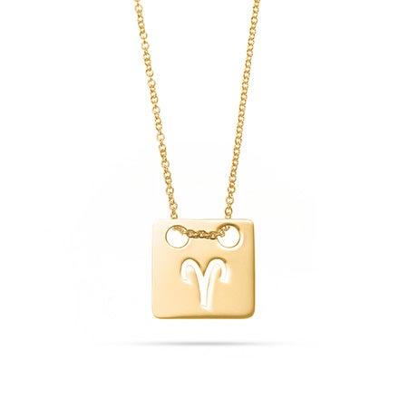 Zodiac Cut Out Gold Square Tag Pendant