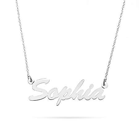 14K White Gold Thin Script Nameplate Necklace