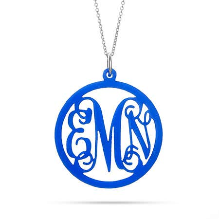 display slide 1 of 6 - Script Acrylic Monogram Necklace - selected slide