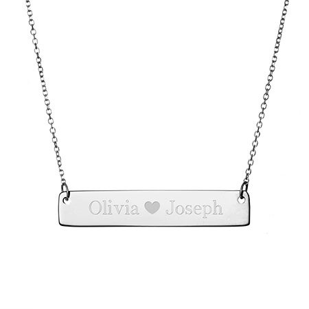 Couples Heart Sterling Silver Name Bar Necklace