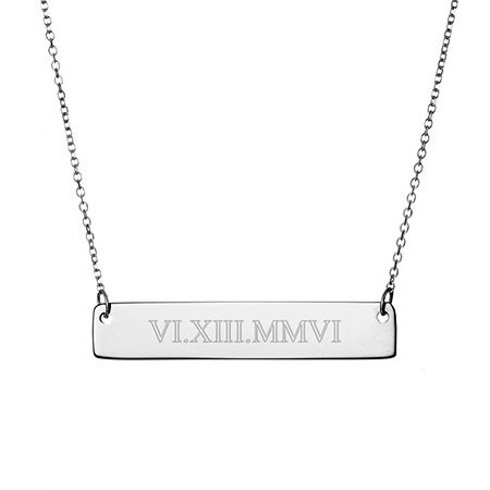 Roman Numeral Date Sterling Silver Bar Necklace