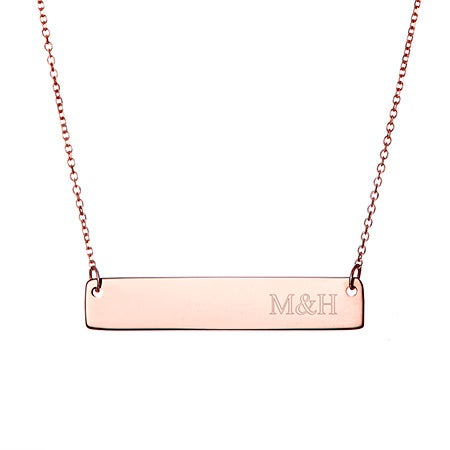 Couples Initials Rose Gold Bar Necklace