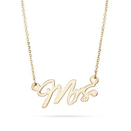 14K Gold Mrs Wedding Necklace