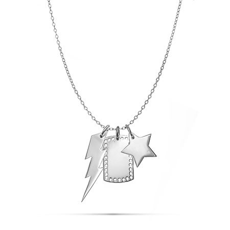 Silver Stars and Bolts Mixed Charm Necklace