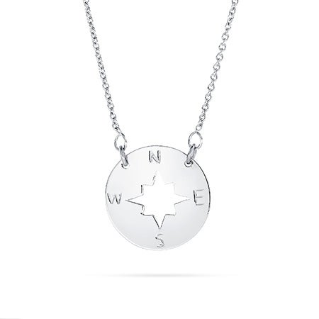 Sterling Silver Compass Disc Necklace