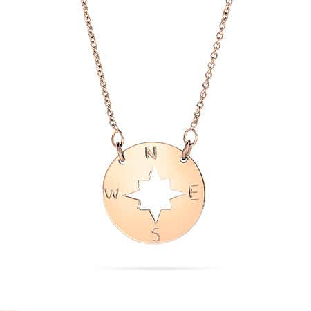 Rose Gold Plated Compass Disc Necklace