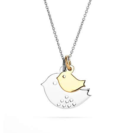 Mom Bird and Baby Silver Charm Necklace