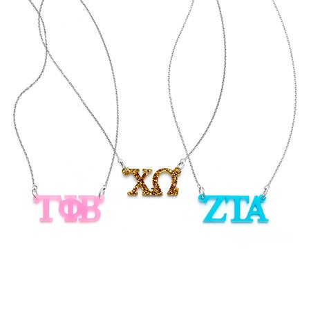 Sorority Greek Letter Cut Out Acrylic Necklace