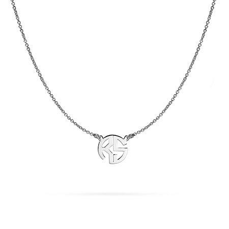 Mini Two Initial Block Style Monogram in Silver