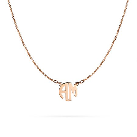 Two Letter Block Style Rose Gold Monogram