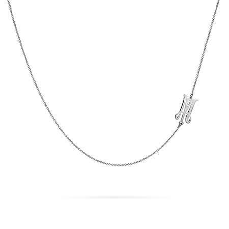 Sideways Script Initial Necklace in Silver