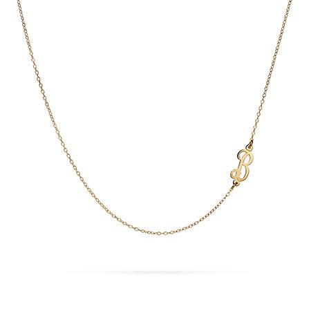 Sideways Script Initial Necklace in Gold