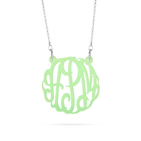 Mint Green Acrylic Monogram Necklace