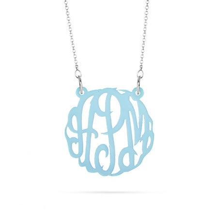 Acrylic Light Blue Monogram Necklace