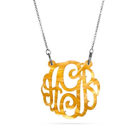 Acrylic Gold Marble Monogram Necklace