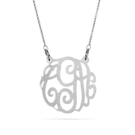 Acrylic Gunmetal Monogram Necklace