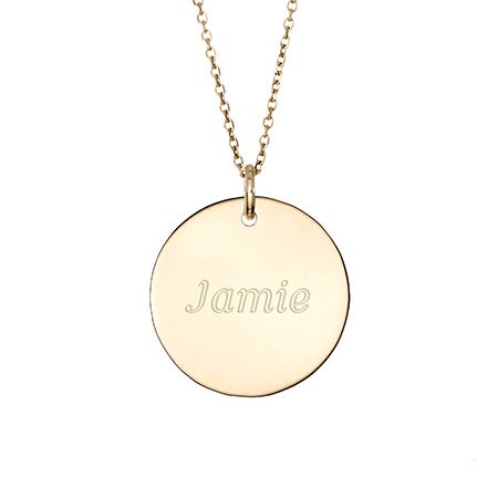 Round Tag Pendant in Gold
