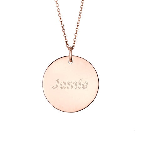 Engravable Round Charm Necklace in Rose Gold