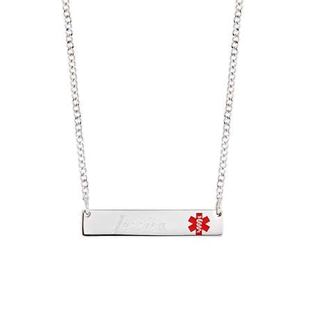Engravable Medical ID Name Bar Necklace