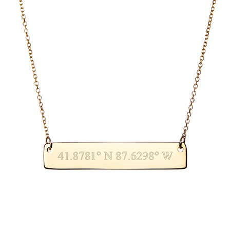 Engravable Gold Coordinate Bar Necklace