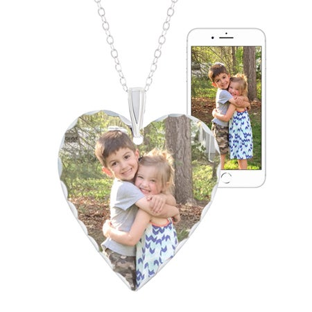 Large Heart Color Photo Necklace