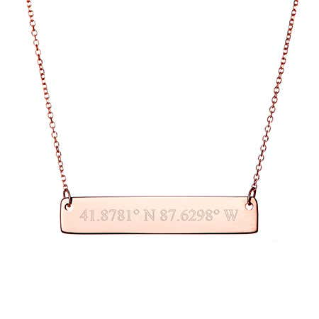 Custom Coordinate Rose Gold Bar Necklace