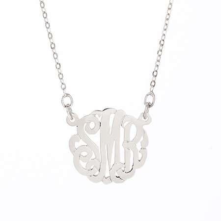Petite Monogram Silver Necklace