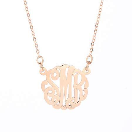 Rose Gold MIni Monogram Necklace