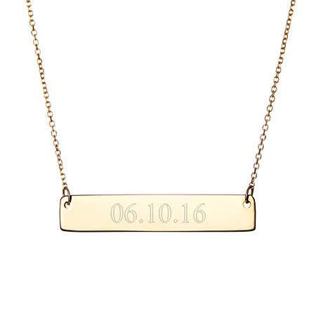 display slide 1 of 2 - Custom Date Gold Bar Necklace - selected slide