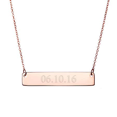 Custom Date Rose Gold Bar Necklace