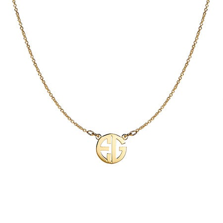 14K Gold Two Initial Block Style Monogram