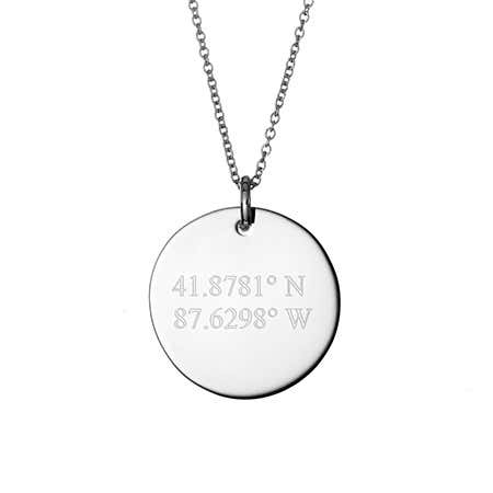 Custom Coordinate Silver Round Tag Pendant
