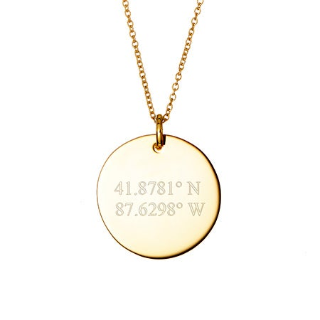 Engravable Coordinate Gold Round Charm Necklace