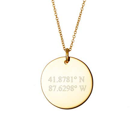 display slide 1 of 1 - Engravable Coordinate Gold Round Charm Necklace - selected slide