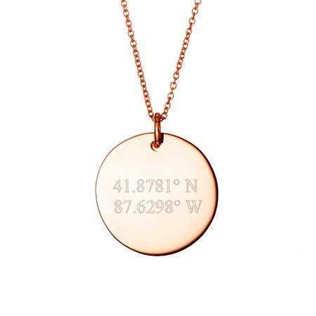 display slide 1 of 1 - Custom Coordinate Rose Gold Round Tag Pendant - selected slide