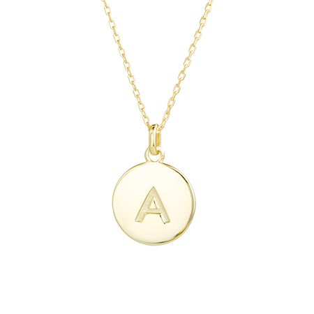 Initial Gold Disc Necklace