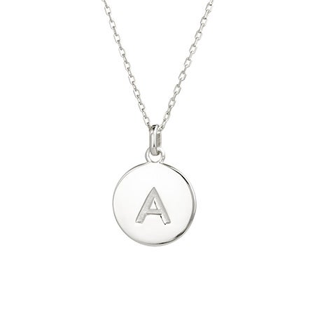 Custom Initial Silver Disc Necklace